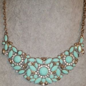 'Shades of Turquoise' Gold Statement Necklace